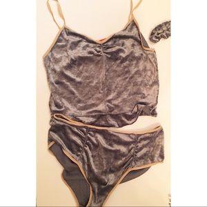 Free People intimates 2 pc Velvet lingerie set new